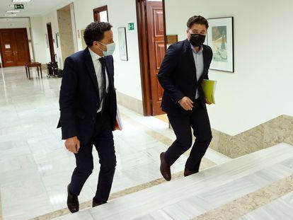 Los portavoces de Ciudadanos, Edmundo Bal, y ERC, Gabriel Rufián, este martes en el Congreso.