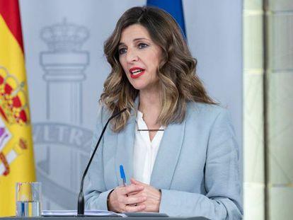 La ministra de Trabajo, Yolanda Díaz, tras el Consejo de Ministros del pasado viernes.