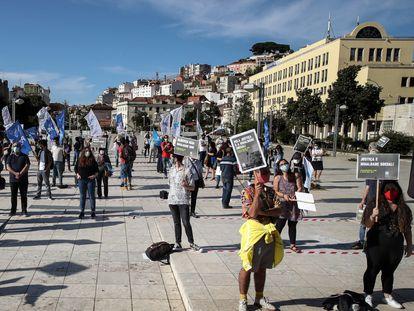 Manifestación a favor de la justicia y la igualdad en EE UU, celebrada en Lisboa, el 9 de junio.