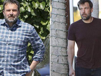 El actor Ben Affleck y, la derecha, hace menos de un año.