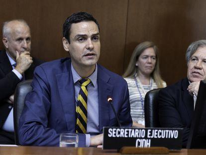 Paulo Abrão, secretario Ejecutivo de la CIDH, y Luis Almagro, secretario general de la OEA, en junio de 2018.