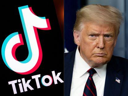 Montaje del logo de TikTok y la cara de Donald Trump.