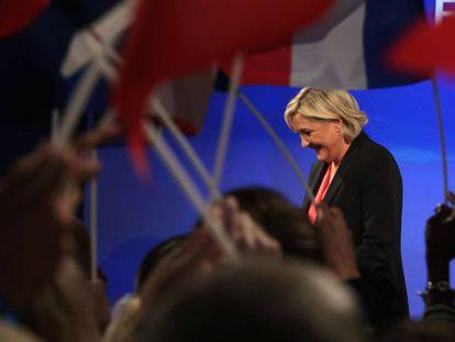 Marine Le Pen en un mitin del Frente Nacional durante las últimas elecciones francesas.