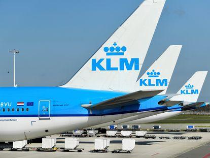 Aviones de KLM, en una foto de archivo.