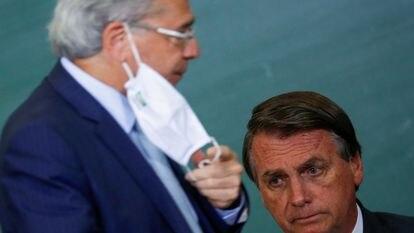 El presidente Bolsonaro, en un acto con el ministro de Economía, Paulo Guedes.
