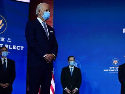El presidente electo de Estados Unidos, Joe Biden, este martes durante la presentación de los primeros miembros de su Gobierno, en Wilmington (Delaware).