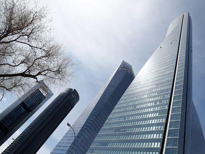 Área de negocios de las Cuatro Torres junto al paseo de la Castellana, en Madrid.