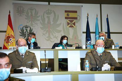 La ministra de Defensa, Margarita Robles, este lunes en el Cuartel General del Ejército.