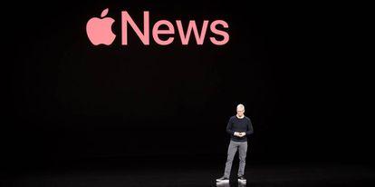 Tim Cook presenta la nueva línea de negocio de Apple, la semana pasada en  Cupertino, California.