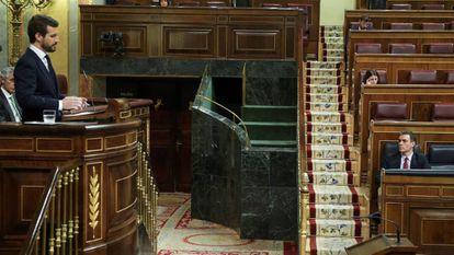 Pablo Casado este miércoles durante la sesión plenaria en el Congreso.