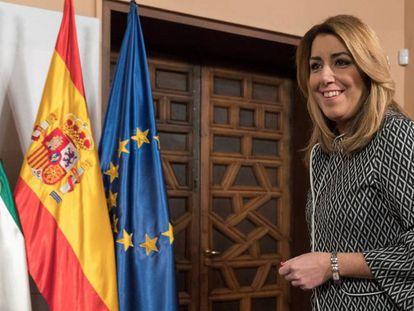 La presidenta andaluza, Susana Díaz, tras el consejo de Gobierno, en Sevilla.