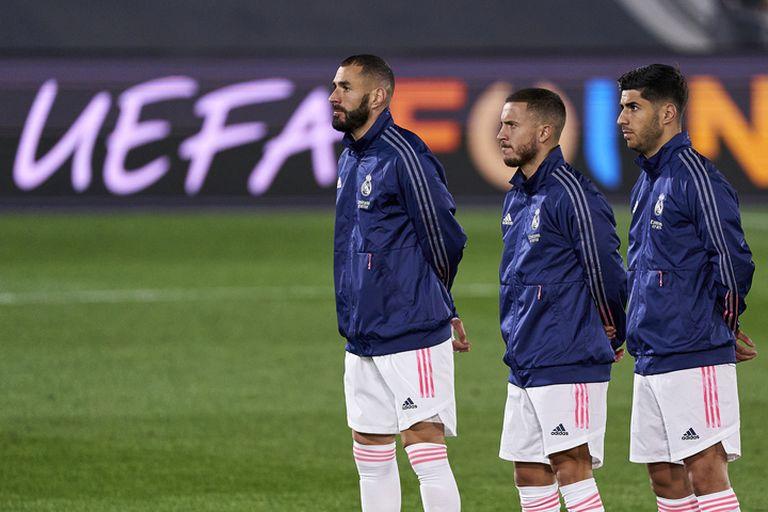 Benzema, Hazard y Asensio, antes del Real Madrid-Inter de Champions de esta temporada.