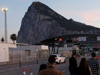 Puesto de control de paso a Gibraltar desde la Línea de la Concepción, el pasado diciembre.