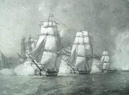 Grabado que muestra el hundimiento de la fragata <i>La Mercedes</i> durante la batalla del cabo de Santa María, en 1804.