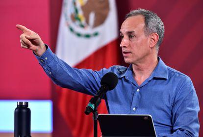 López-Gatell durante una rueda de prensa en el Palacio Nacional, en julio de 2020.