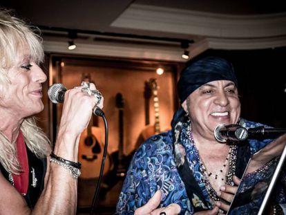 Little Steve y Michael Monroe en la UNDERGROUND GARAGE DANCE PARTY, celebrada anoche en el Hard Rock Café.