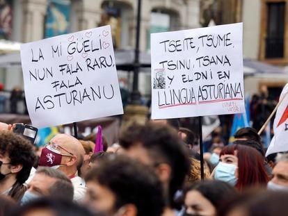 Pancartas en asturiano en una manifestación a favor la oficialidad de la lengua el pasado 16 de octubre en Oviedo.