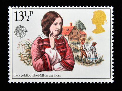 Sello británico de 1980 con la imagen de George Eliot.