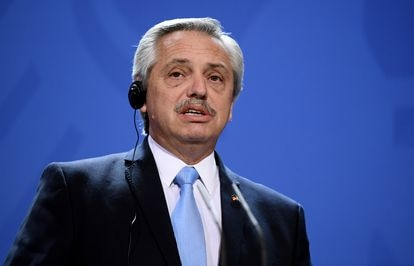 El presidente de Argentina, Alberto Fernández, en conferencia de prensa en Berlín el pasado mes de febrero.