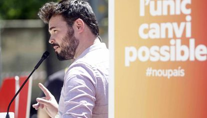 Gabriel Rufián, candidato de ERC, en un acto en Barcelona.