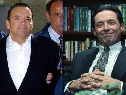 Montaje fotográfico que muestra a Frank Tassone (izquierda) y al actor Hugh Jackman, que le da vida en 'La estafa'.