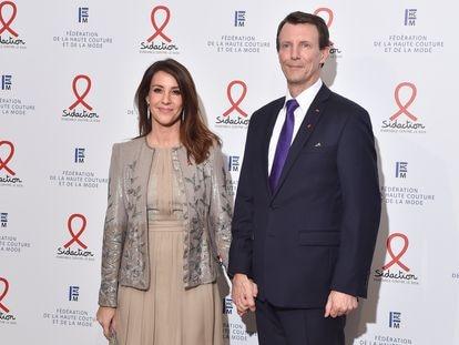 La princesa Marie y el príncipe Joaquín de Dinamarca, en una cena de gala el 23 de enero en París, (Francia)