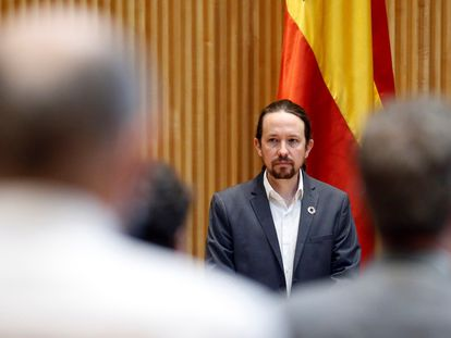 Pablo Iglesias, during the appearance of the congressional commission in madrid 28 May 2020