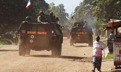 Militares franceses en Bangui, capital de República Centroafricana.