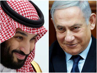 El príncipe heredero saudí, Mohamed Bin Salman, y primer ministro  de Israel, Benjamín Netanyahu.
