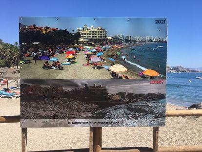 Una fotografía del futuro posible de una playa de Benalmádena (Málaga) para concienciar sobre el cambio climático.