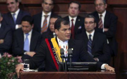 El presidente Correa, durante un discurso en mayo.