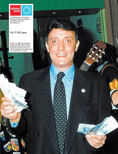 El Dioni, cargado de billetes en un cartel promocional del Sònar de 2005.
