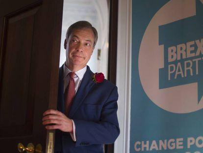 El líder del Brexit Party, Nigel Farage, este martes en un acto de la formación en Londres