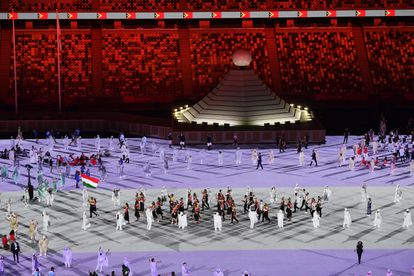 A moment of the parade of athletes during the opening ceremony in the empty Tokyo stadium.