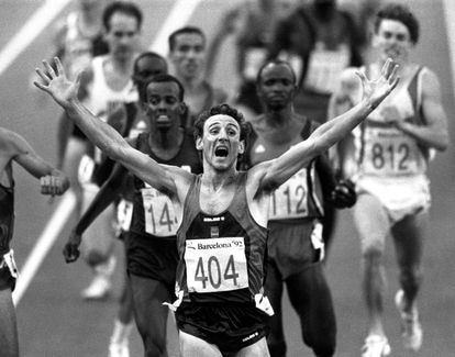 The Spanish athlete Fermín Cacho at the Barcelona Olympic Games in 1992.