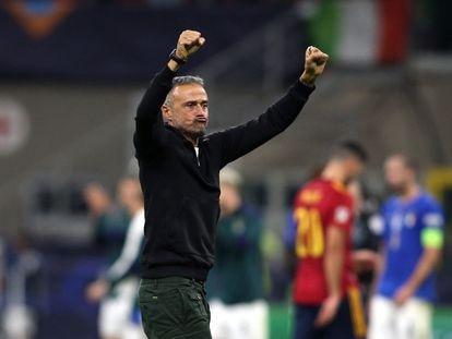 Luis Enrique celebra la victoria ante Italia en la Liga de las Naciones.