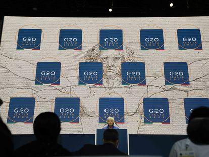 La secretaria del Tesoro de EE UU, Janet Yellen, en una rueda de prensa tras la reunión del G-20 en Venecia.