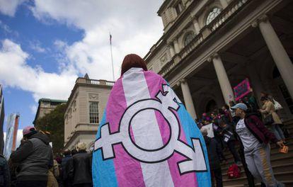 Manifestación de apoyo en Nueva York al colectivo LGTBQ.