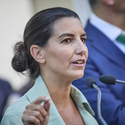 MADRID, SPAIN - SEPTEMBER 29: The president of Vox Madrid, Rocio Monasterio, speaks at the inauguration of the new headquarters of the party, on 29 September, 2021 in Madrid, Spain. This headquarters, located in Calle Padre Damian, in the district of Chamartin will be the new home of the formation in Madrid and will join the national headquarters in Bamboo Street.  (Photo By Jesus Hellin/Europa Press via Getty Images)