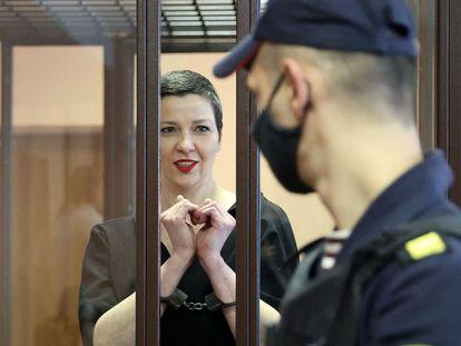 Maria Kolesnikova en los juzgados de Minsk, este lunes.