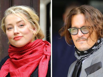 Amber Heard y Johnny Depp, a su llegada al juicio por difamación que el actor tiene contra el diario 'The Sun', en Londres