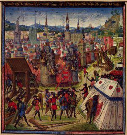 Grabado del Libro de las cruzadas sobre la toma de Jerusalén.