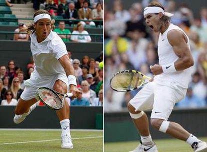 Feliciano López, a la izquierda, y Rafael Nadal, en sus partidos de cuartos de final.