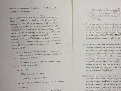 Dos páginas del manuscrito original de la novela 'Òpera Àcid'.