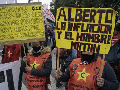 Manifestación contra el hambre, el pasado mes de junio en Buenos Aires.
