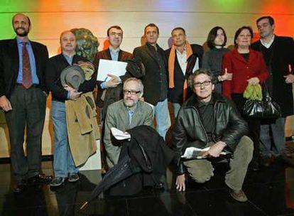 Cineastas y expertos en propiedad intelectual, reunidos ayer en defensa de la copia privada.