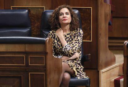 La ministra de Hacienda, Marías Jesús Montero, ayer en el Congreso de los Diputados.