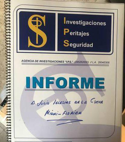 Portada del informe sobre Julio Iglesias.