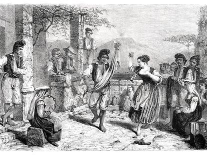 Bailarines de tarantela, por G. Maurand - De Bergue.