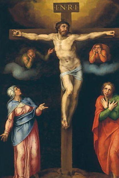 'La Crucifixión con la Virgen, San Juan y dos ángeles llorando', cuadro atribuido a Marcello Venusti y que el estudioso italiano Antonio Forcellino sostiene ser de Miguel Ángel.